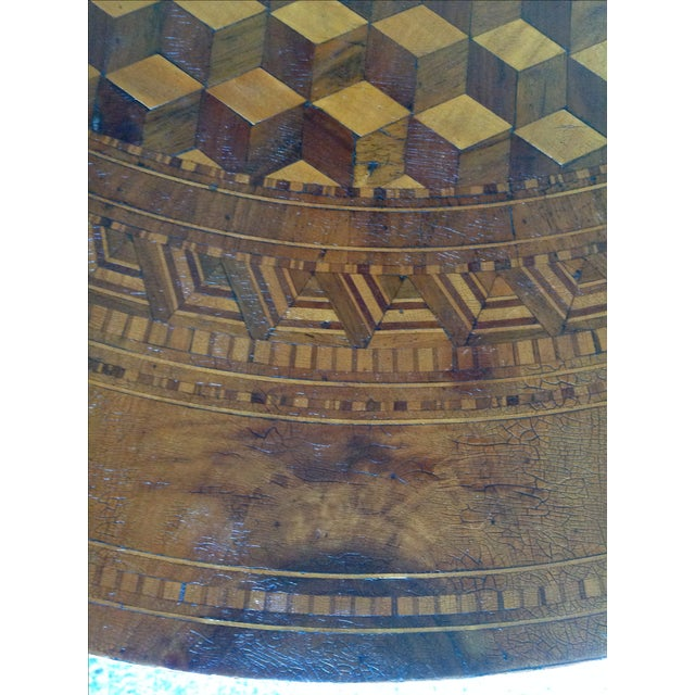 Intricately Detailed Parquet Antique Round Table - Image 4 of 11