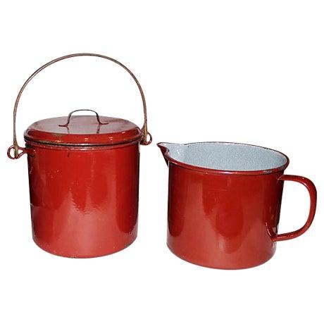 French Emanelware Lidded Pot & Pitcher - Image 1 of 7
