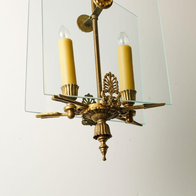 French Classic Brass and Glass Lantern For Sale In Houston - Image 6 of 12