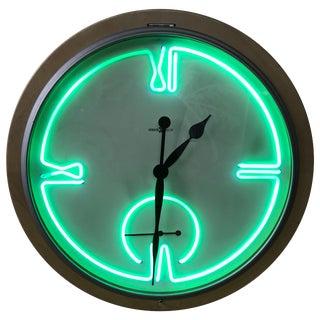 Postmodern Monumental Howard Miller Neon Wall Clock For Sale