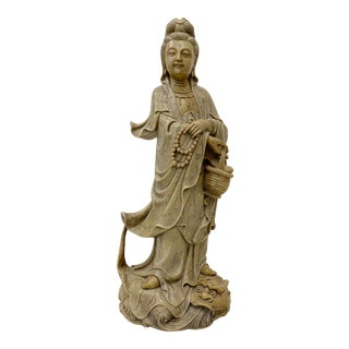 20th Century Natural Chinese Soapstone Carved Quan Yin Figure For Sale