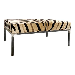 The Forsyth Ottoman in Zebra For Sale