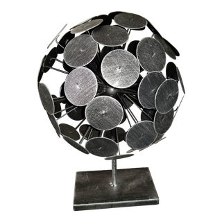 "Brutalist Metal Armillary Sphere Orb Sculpture 14"" For Sale"
