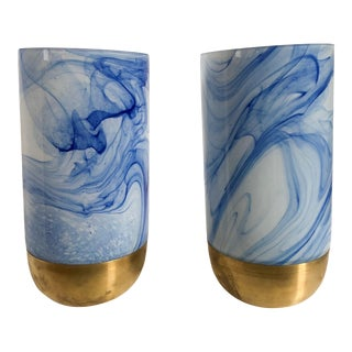 Glass Vase Hurricanes, Pair For Sale