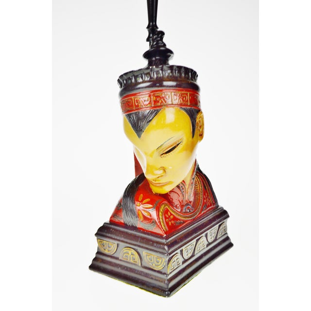Paint Vintage Asian Chalkware Figural Lamps - a Pair For Sale - Image 7 of 13