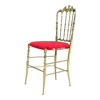 Italian Chiavari Solid Polished Brass & Red Tweed Chair For Sale