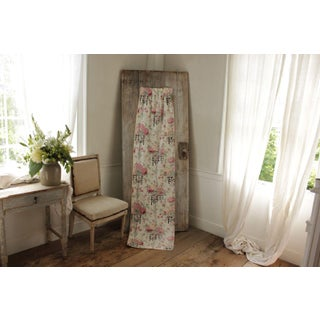 Antique French 1930's Rose, Bird & Floral Fabric Design Curtain Drape Preview
