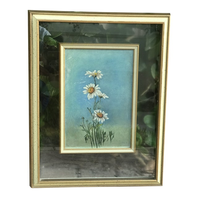 """Mid-Century Original """"Summer Daisies"""" Painting Mounted in a Double Glass Frame For Sale"""