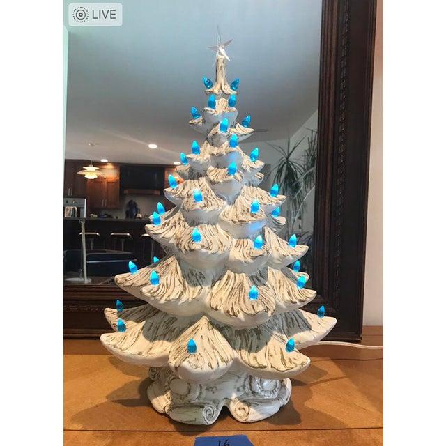 Vintage White Ceramic Christmas Tree.Vintage White Ceramic Christmas Tree