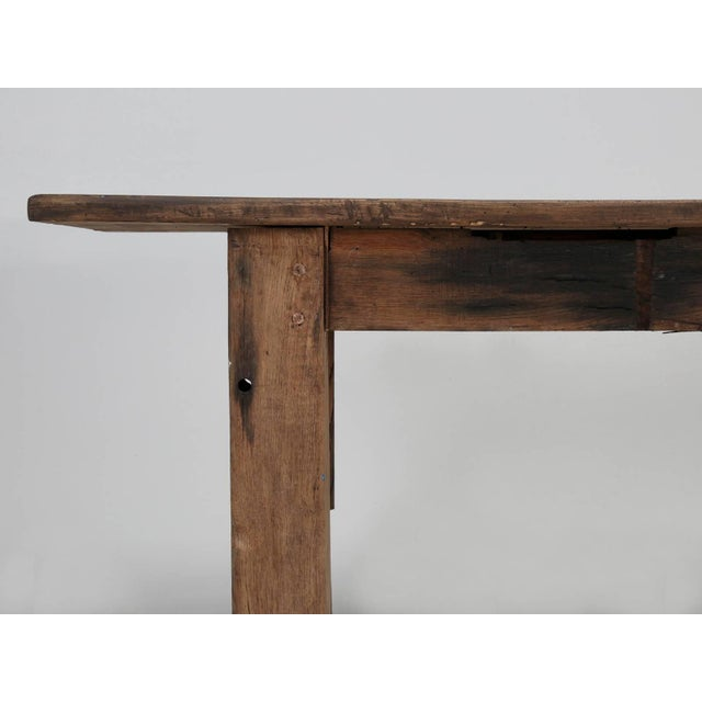 Brown Antique French Industrial Work Table or Rustic Farm Dining Table, Circa 1900 For Sale - Image 8 of 10