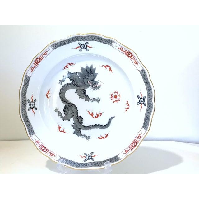 """Meissen German Mint Gray Dragon Crossed Swords 10"""" Dinner Plate - Image 2 of 4"""