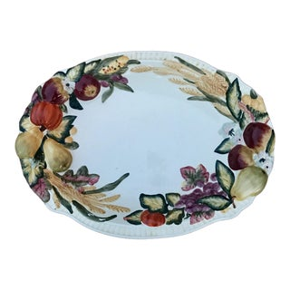 1960s Majolica Fruit and Wheat Platter For Sale