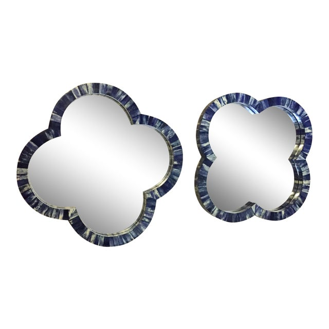Blue Bone Inlay Quatrefoil Mirrors or Trays - a Pair For Sale