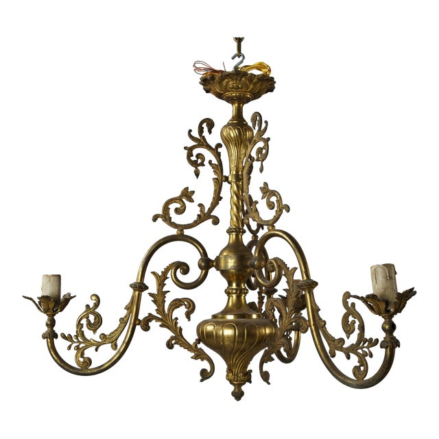 French Three Light Solid Cast Brass Chandelier For Sale
