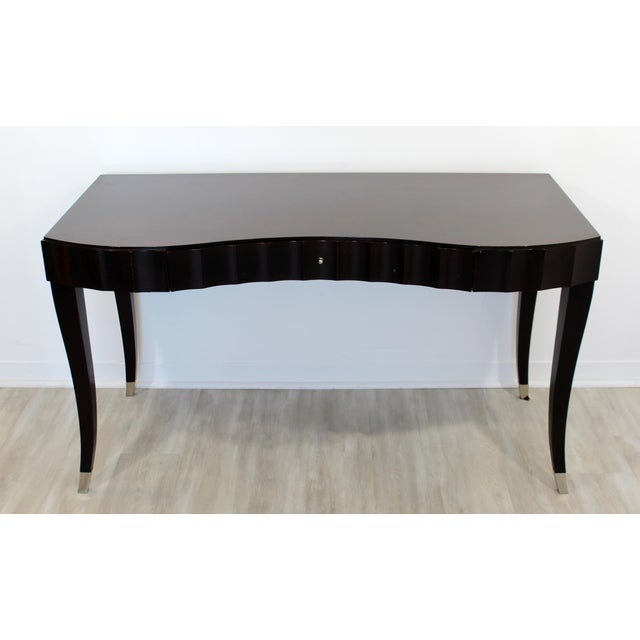 Contemporary Contemporary Modernist Barbara Barry for Baker Black Lacquer Vanity Desk For Sale - Image 3 of 7