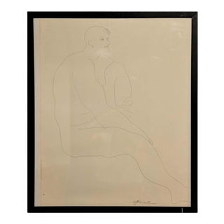1960s Gertrude Barnstone Abstract Pen Contour Line Drawing of Male Nude Seated With Raised Knee, Framed For Sale