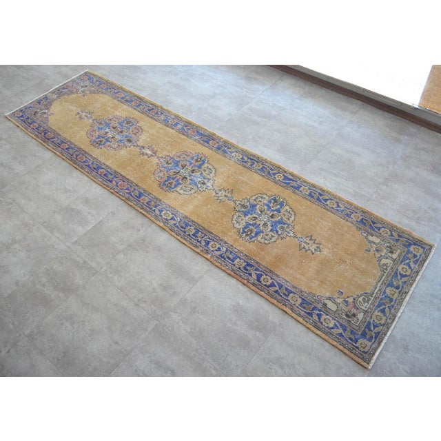 Traditional Design Distressed Oushak Runner Rug Faded Colors Low Pile - 2'12″ X 10'10″ For Sale - Image 10 of 10