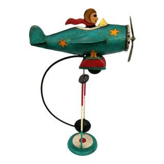 1970s Vintage Folk Art Pendulum Balancing Aviator Figurine For Sale