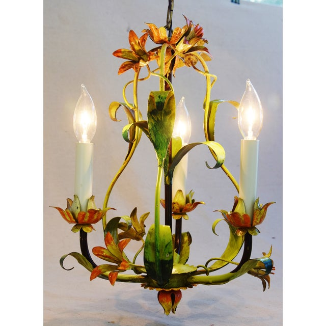 Vintage Italian Three Arm/Light Lily Flower Tole Chandelier For Sale - Image 5 of 11