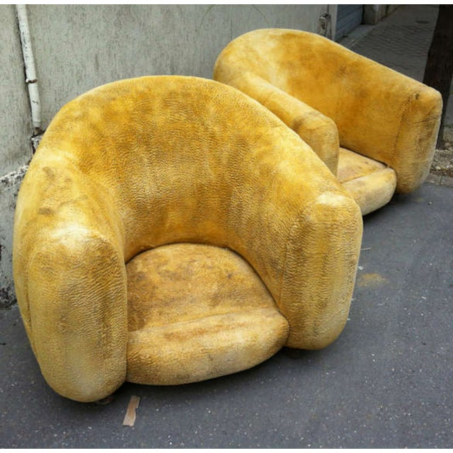 "Jean Royère Genuine Iconic ""Ours Polaire"" Pair of Armchairs in Wool Faux Fur For Sale - Image 9 of 11"