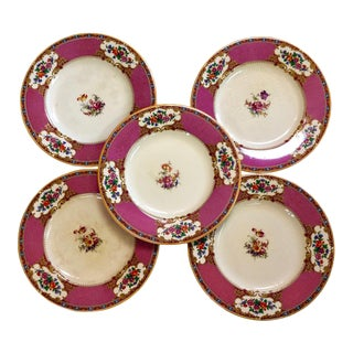John Steventon Royal Venton Ware Floral Plates Burslem England - Set of 5 For Sale