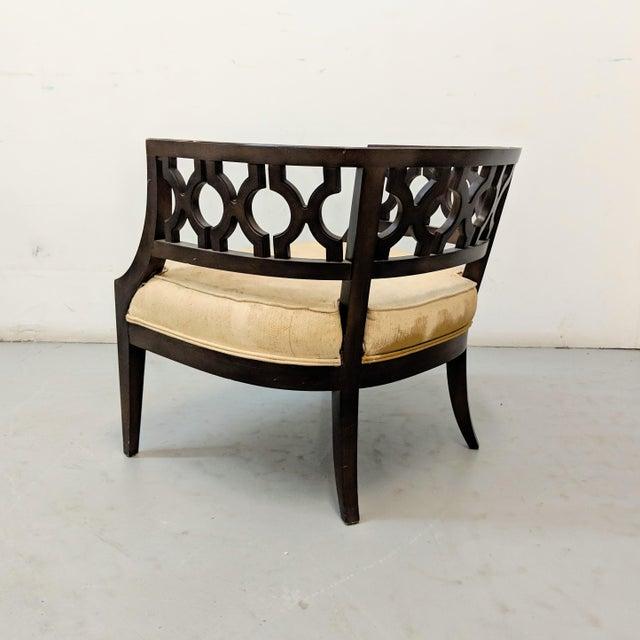 Dorothy Draper 1970s Vintage Hollywood Regency Lattice Barrel Back Lounge Chair For Sale - Image 4 of 13