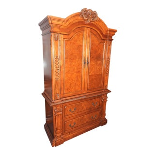 Luxury Cherry Tv Armoire & Dresser Set For Sale