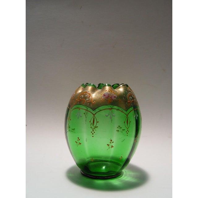 Green Glass Enameled Vase Chairish