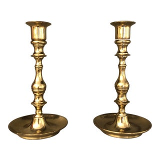 Mid Century Brass Curved Base Candle Holders - A Pair For Sale