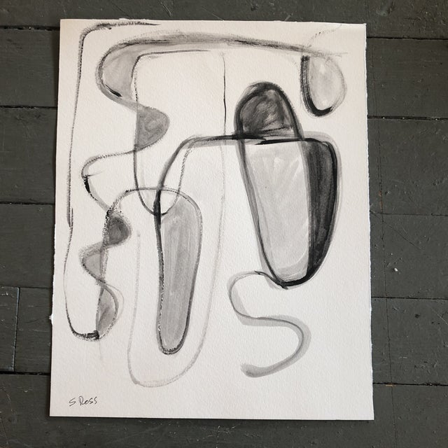 2010s Original Contemporary Stewart Ross Abstract Painting on Paper For Sale - Image 5 of 5