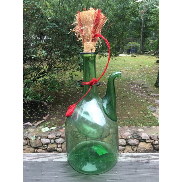 Italian Green Glass Wine Carafe Chiller - Image 2 of 6