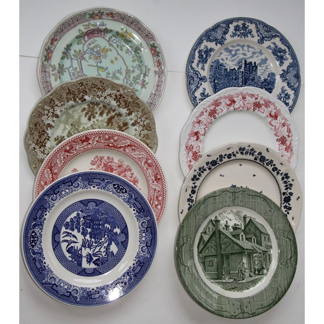 Johnson Brothers Mismatched Transfer Ware Ironstone Dinner Plates - Set of 8 For Sale - Image 4 of 4