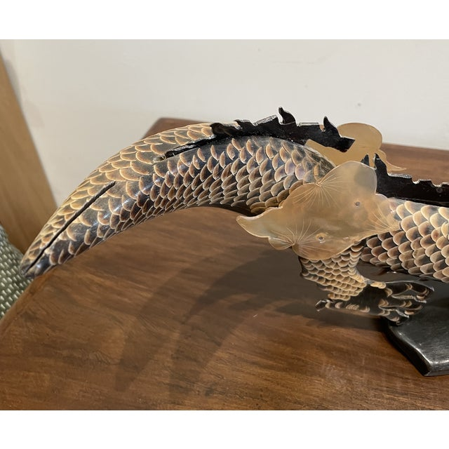 Mid 20th Century Antique Hand Carved Dragon on Horn For Sale - Image 5 of 8