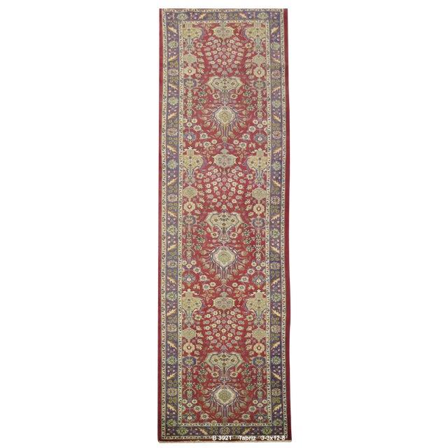 Vintage Persian Tabriz Rug - 3'3''x12'8'' For Sale
