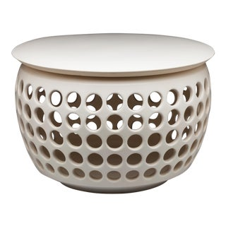 Mid-Century White Ceramic Side Table For Sale