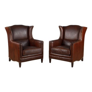Pair of French Leather Wingback Armchairs, 1980s