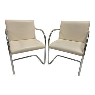 Mies Van Der Rohe Brno Guest Chair in Cream Leather - a Pair For Sale