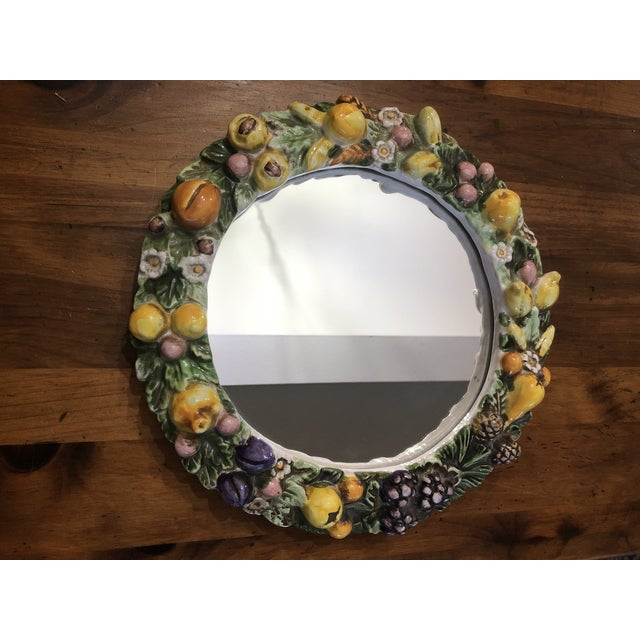 Vintage Italian Ceramic Della Robbia Wreath Mirror For Sale - Image 9 of 9