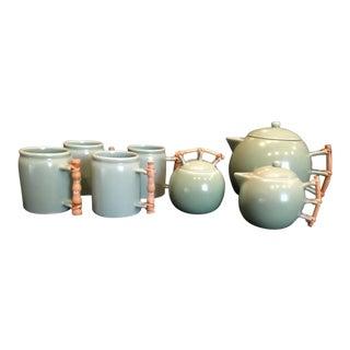 Vintage 1930 Asian Celadon Green Ceramic Bamboo Handle Tea Set of 7 For Sale