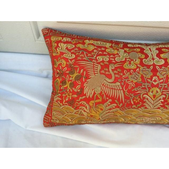 Asian Chinoiserie Silk Crane Boudoir Pillow For Sale - Image 3 of 7