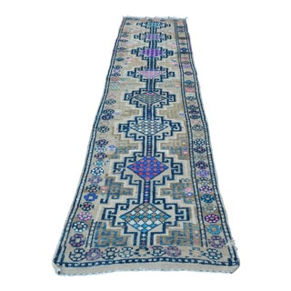 1960s Tribal Handknotted Navy Wool Hallway Runner Rug