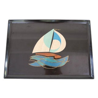 Vintage Couroc Sailboat Tray For Sale