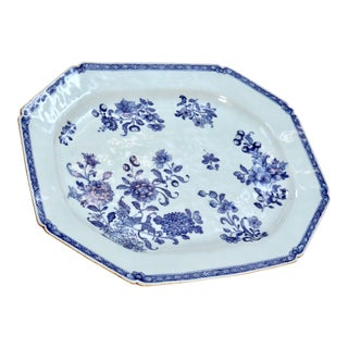 1780 Chinese Blue and White Export Porcelain Platter For Sale
