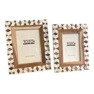 Tozai Home Blue and White Diamond Frames - Set of 2 For Sale