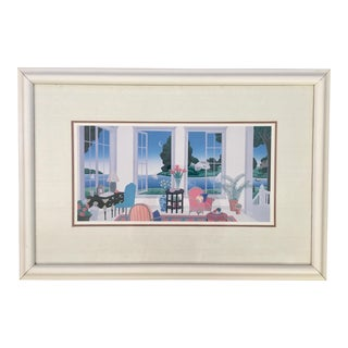 1980's Framed Print of Hyannisport by Thomas McKnight of Nantucket Sound For Sale