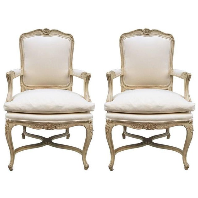 Fabric Louis XIV Style Armchairs - A Pair For Sale - Image 7 of 7