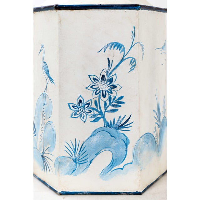 Metal Mid 20th Century Vintage Hexagonal Blue & White Tole Tea Caddy #2 For Sale - Image 7 of 10