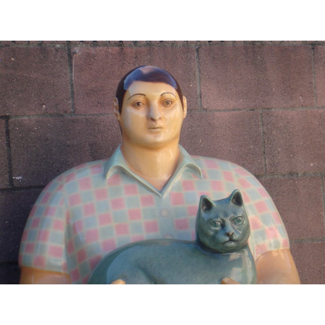 Very rare life-sized papier mâché sculpture of boy with cat by Mexican artist, Sergio Bustamante - this is a beautiful...
