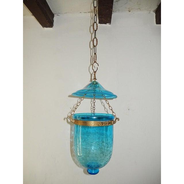 English Cobalt Blue Bell Jar Lantern Chandelier For Sale - Image 13 of 13