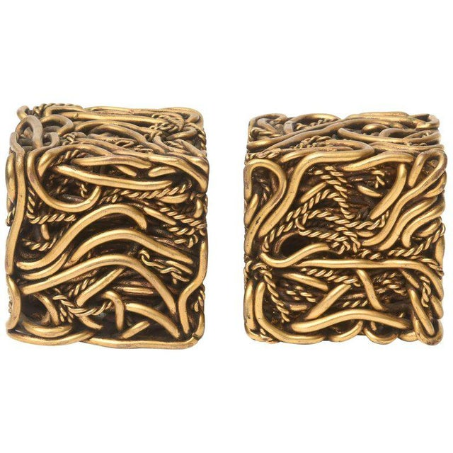 Pair of Signed Yasca Bronze Twisted Square Cube Sculptures For Sale - Image 11 of 11
